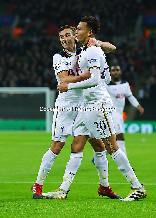 07.12.2016. Wembley Stadium, London, England. UEFA Champions League Football. Tottenham Hotspur versus CSKA Moscow. Tottenham Hotspur Midfielder Dele Alli levels the score 1-1 and celebrates with Harry Winks, after his shot beats CSKA Moscow Goalkeeper Igor Akinfeev