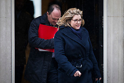 © Licensed to London News Pictures. 01/03/2018. London, UK. Secretary of State for International Development Penny Mordaunt (R) on Downing Street after a meeting of the Cabinet ahead of Prime Minister Theresa May's speech on Brexit. Photo credit: Rob Pinney/LNP