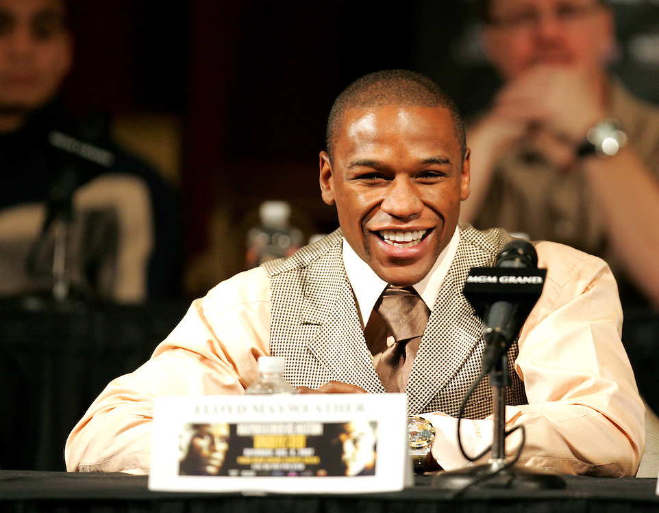 Floyd Mayweather at the final press conference. Ricky Hatton v Floyd Mayweather, Las Vegas, Nevada.