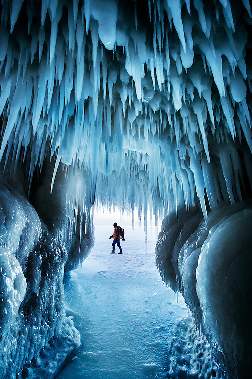 Self-portrait taken from inside an ice cave on Lake Superior, Apostle Islands National Lakeshore, USA.