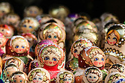 A display of Matryoshka dolls of different sizes and colours. Photographed in Krakow, Poland
