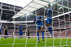LONDON, ENGLAND - Saturday, May 17, 2008: Portsmouth's Glen Johnson cannot prevent the ball crossing the line but Cardiff City's goal was disallowed during the FA Cup Final at Wembley Stadium. (Photo by David Rawcliffe/Propaganda)