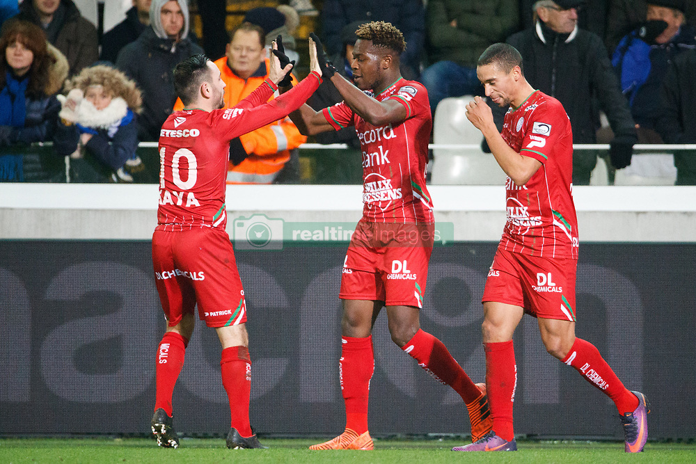 November 26, 2017 - Brugge, BELGIUM - Essevee's Aaron Leya Iseka celebrates after scoring during the Jupiler Pro League match between Club Brugge KV and SV Zulte Waregem, in Brugge, Sunday 26 November 2017, on the sixteenth day of the Jupiler Pro League, the Belgian soccer championship season 2017-2018. BELGA PHOTO KURT DESPLENTER (Credit Image: © Kurt Desplenter/Belga via ZUMA Press)