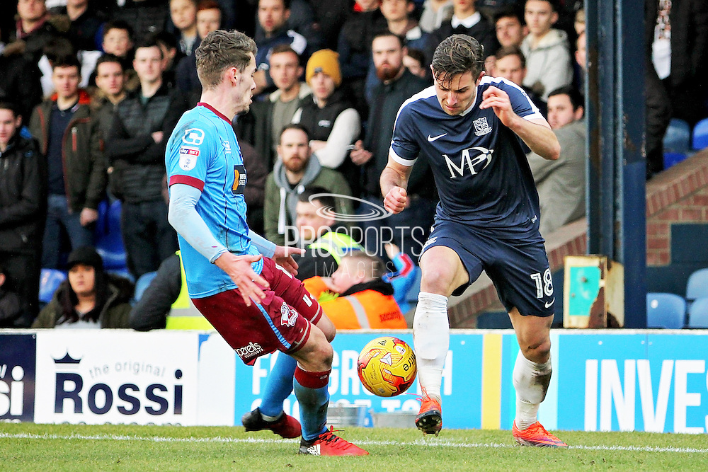 Southend United defender Ryan Leonard (18) attacks during the EFL Sky Bet League 1 match between Southend United and Scunthorpe United at Roots Hall, Southend, England on 4 February 2017. Photo by Nigel Cole.