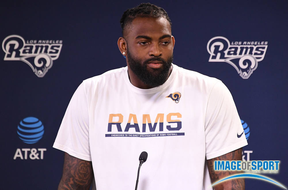 Los Angeles Rams speaks defensive end Michael Brockers speaks at press conference at Cal Lutheran.