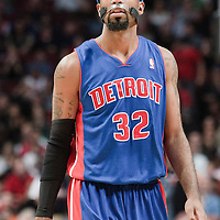 30 October 2010: Detroit Pistons Richard Hamilton looks at the scoreboard during the Chicago Bulls 101-91 victory over the Detroit Pistons at the United Center, in Chicago, Illinois, USA.