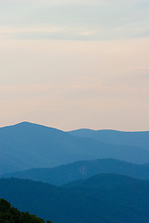 The Blue Ridge Mountains at sunset -- near Raven's Roost off The Blue Ridge Parkway