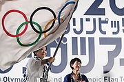 Yuriko Koike, Governor of Tokyo Metropolitan Government holds an olympic flag during the ceremony marking the 3 years to go to the Tokyo 2020 Olympics Games on July 24, 2017 at the Tokyo Metropolitan Government Building, Tokyo, Japan. 24/07/2017-Tokyo, JAPAN