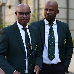 Springboks media officer Rayaan Adrianse with Mzwandile Stick (Backs Coach) of South Africa during the South African Springbok team photo, Tsogo Sun Montecasino Hotel <br /> Johannesburg .South Africa. 08,06,2018 Photo by (Steve Haag Sports)