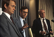 Carter advisors, Jody Powell, Stuart Eisenstadt and James Schlesinger in the White House Preess briefing room in June 1979<br /> <br /> Photograph by Dennis Brack<br /> bb45
