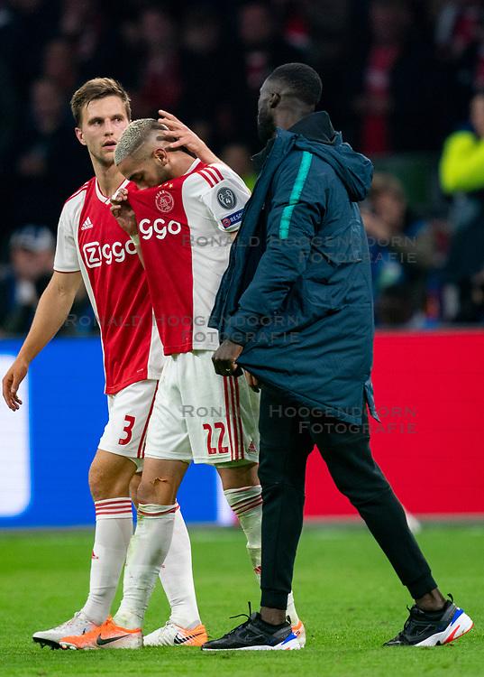 08-05-2019 NED: Semi Final Champions League AFC Ajax - Tottenham Hotspur, Amsterdam<br /> After a dramatic ending, Ajax has not been able to reach the final of the Champions League. In the final second Tottenham Hotspur scored 3-2 / Hakim Ziyech #22 of Ajax, Joel Veltman #3 of Ajax