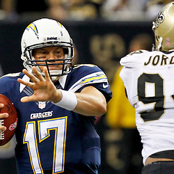October 7, 2012; New Orleans, LA, USA; New Orleans Saints defensive end Cameron Jordan (94) pressures San Diego Chargers quarterback Philip Rivers (17) for a sack during the fourth quarter of a game at the Mercedes-Benz Superdome. The Saints defeated the Chargers 31-24. Mandatory Credit: Derick E. Hingle-US PRESSWIRE
