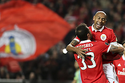 November 26, 2017 - Lisbon, Portugal - Benfica's defender Luisao (R) celebrates with Benfica's defender Jardel Vieira after scoring during the Portuguese League  football match between SL Benfica and Vitoria Setubal at Luz  Stadium in Lisbon on November 26, 2017. (Credit Image: © Carlos Costa/NurPhoto via ZUMA Press)