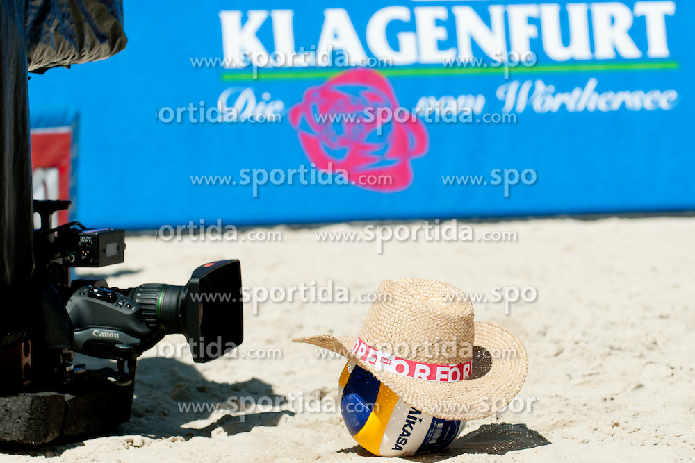 Camera and Mikasa ball with hat at A1 Beach Volleyball Grand Slam tournament of Swatch FIVB World Tour 2010, final, on July 31, 2010 in Klagenfurt, Austria. (Photo by Matic Klansek Velej / Sportida)