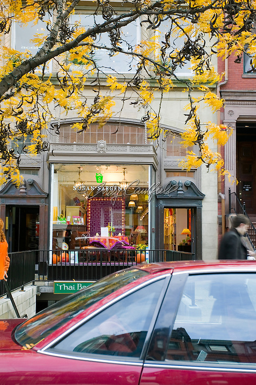 Newbury Street in autumn, shop windows with fall decor, Boston, MA.