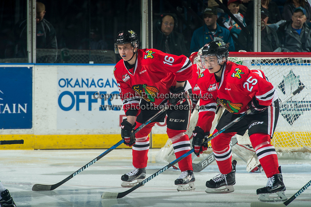 KELOWNA, CANADA - APRIL 7: Henri Jokiharju #16 and Evan Weinger #25 of the Portland Winterhawks line up against the Kelowna Rockets on April 7, 2017 at Prospera Place in Kelowna, British Columbia, Canada.  (Photo by Marissa Baecker/Shoot the Breeze)  *** Local Caption ***