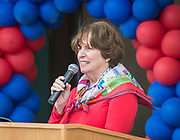 Fran Callahan comments during a groundbreaking ceremony at Lamar High School, March 30, 2017.