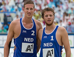 31-07-2014 AUT: FIVB Grandslam Volleybal, Klagenfurt<br /> Christiaan Varenhorst (NED), Jon Stiekema (NED)<br /> ***NETHERLANDS ONLY***