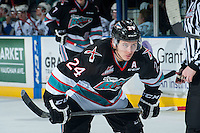 KELOWNA, CANADA - OCTOBER 9: Tyson Baillie #24 of Kelowna Rockets lines up against the Victoria Royals on OCTOBER 9, 2015 at Prospera Place in Kelowna, British Columbia, Canada.  (Photo by Marissa Baecker/Getty Images)  *** Local Caption *** Tyson Baillie;