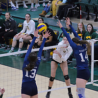 3rd year outside hitter Leah Sywanyk (3) of the Regina Cougars  of the Regina Cougars in action during the Women's Volleyball Home Game vs Trinity Western  on October 28 at the CKHS University of Regina. Credit Matt Johnson/Arthur Images