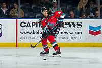 KELOWNA, BC - OCTOBER 2:  Devin Steffler #4 of the Kelowna Rockets passes the puck during first period against the Tri-City Americans  at Prospera Place on October 2, 2019 in Kelowna, Canada. (Photo by Marissa Baecker/Shoot the Breeze)