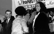 Coretta King supports candidate for Vice-President Walter Mondale at a June 1976 rally held at Operation PUSH in Chicago.  (Photo by Antonio Dickey)