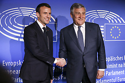 April 17, 2018 - Strasbourg, France - French President Emmanuel Macron, left, with European Parliament president Antonio Tajani at the European Parliament in Strasbourg. Macron is expected to outline his vision for the future of Europe to push for deep reforms of the 19-nation eurozone and will launch a drive to seek European citizens' opinions on the European Union's future. (Credit Image: © Elyxandro Cegarra/NurPhoto via ZUMA Press)