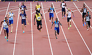 Great Britain, London - 2017 August 12: (C) Usain Bolt of Jamaica pulls up during men's 4x100m relay final during IAAF World Championships London 2017 Day 9 at London Stadium on August 12, 2017 in London, Great Britain.<br /> <br /> Mandatory credit:<br /> Photo by © Adam Nurkiewicz<br /> <br /> Adam Nurkiewicz declares that he has no rights to the image of people at the photographs of his authorship.<br /> <br /> Picture also available in RAW (NEF) or TIFF format on special request.<br /> <br /> Any editorial, commercial or promotional use requires written permission from the author of image.