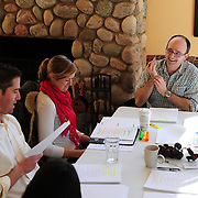Brian Chamberlain, Casey Turner, Allan Mayo rehearse for HLS reading of Ethan Frome(L to R)