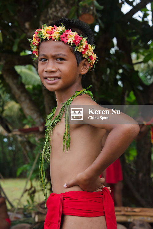 Yapese boy in traditional clothing at Yap Day Festival, Yap Island, Federated States of Micronesia