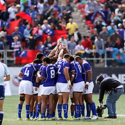 Manu Samoa prepares to battle South Africa in the Cup Semi Finals at the USA Sevens Rugby at Sam Boyd Stadium, Las Vegas, Nevada, USA.  Photo by Barry Markowitz, 2/10/13.  Courtesy Samoa Tuna Processors/Tri Marine