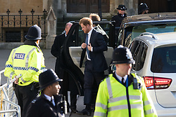 Westminster Abbey, London, March 14th 2016.  Her Majesty The Queen, Head of the Commonwealth, accompanied by The Duke of Edinburgh, The Duke and Duchess of Cambridge and Prince Harry attend the Commonwealth Service at Westminster Abbey on Commonwealth Day. PICTURED: Prince Harry arrives.
