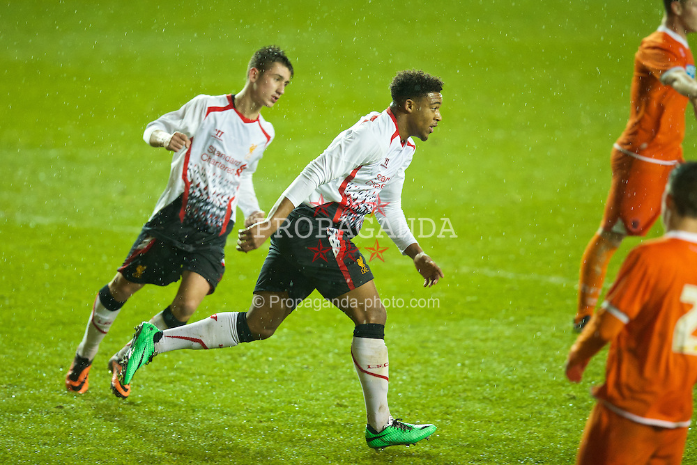 BLACKPOOL, ENGLAND - Wednesday, December 18, 2013: Liverpool's Jordon Ibe celebrates scoring the first goal against Blackpool during the FA Youth Cup 3rd Round match at Bloomfield Road. (Pic by David Rawcliffe/Propaganda)