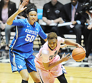 "Mississippi Lady Rebels forward Tia Faleru (32) works against Kentucky Wildcats forward/center Azia Bishop (50) at the C.M. ""Tad"" Smith Coliseum in Oxford, Miss. on Monday, February 23, 2015."