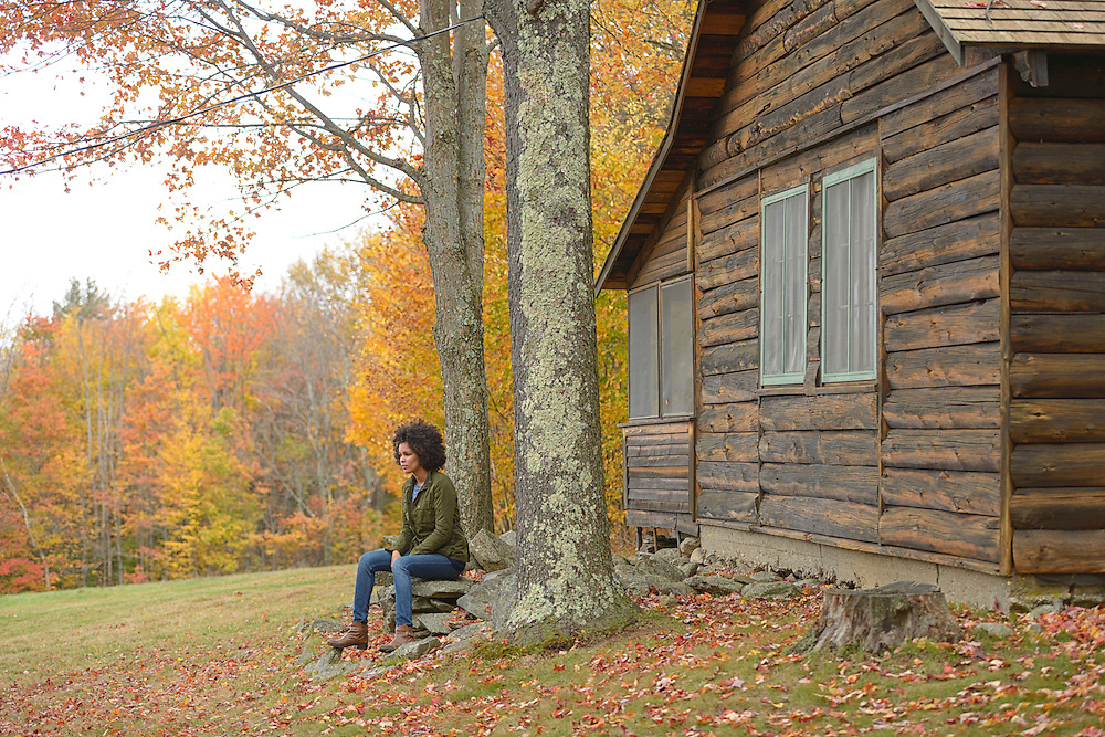 Black Girl at Robert Frost cabin,city of Middlebury,Vermont USA.Model release 0298