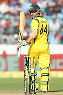 Phillip Hughes of Australia raises his bat for his fifty  during the 2nd One Day International (ODI) match in the Star Sports Series between India and Australia held at the Sawai Mansingh Stadium in Jaipur on the 16th October 2013<br /> <br /> Photo by Ron Gaunt-BCCI-SPORTZPICS<br /> <br /> Use of this image is subject to the terms and conditions as outlined by the BCCI. These terms can be found by following this link:<br /> <br /> http://sportzpics.photoshelter.com/gallery/BCCI-Image-terms-and-conditions/G00004IIt7eWyCv4/C0000ubZaQCkIRgQ