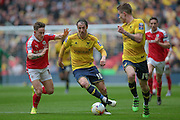 Danny Hylton (Oxford United) runs with the ball during the Johnstone's Paint Trophy Final between Barnsley and Oxford United at Wembley Stadium, London, England on 3 April 2016. Photo by Mark P Doherty.