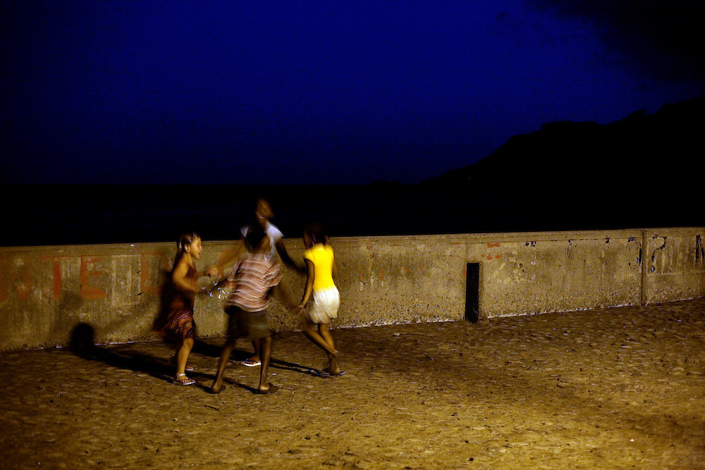 Children play in Furna where is located the only harbour that serves the island when sea conditions allows ships to navigate.