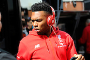 Liverpool forward Daniel Sturridge on arrival at the Vitality Stadium for the Barclays Premier League match between Bournemouth and Liverpool at the Goldsands Stadium, Bournemouth, England on 17 April 2016. Photo by Graham Hunt.