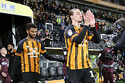 Hull City midfielder Jackson Irvine (16) applauds the fans before the EFL Sky Bet Championship match between Hull City and Swansea City at the KCOM Stadium, Kingston upon Hull, England on 22 December 2018.