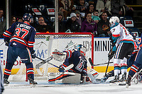 KELOWNA, CANADA - JANUARY 7: Dylan Ferguson #31 of the Kamloops Blazers misses a save against the Kelowna Rockets on January 7, 2017 at Prospera Place in Kelowna, British Columbia, Canada.  (Photo by Marissa Baecker/Shoot the Breeze)  *** Local Caption ***