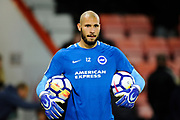 Niki Maenpaa (12) of Brighton and Hove Albion warming up before the Premier League match between Bournemouth and Brighton and Hove Albion at the Vitality Stadium, Bournemouth, England on 15 September 2017. Photo by Graham Hunt.