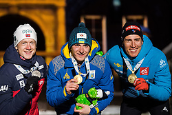 March 10, 2019 - –Stersund, Sweden - 190310  Johannes Thingnes Bö of Norway, Dmytro Pidruchnyi of Ukraine and Quentin Fillon Maillet of France celebrates with their medals at the medal ceremony for the Men's 12,5 km Pursuit Pursuit during the IBU World Championships Biathlon on March 10, 2019 in Östersund..Photo: Petter Arvidson / BILDBYRÃ…N / kod PA / 92256 (Credit Image: © Petter Arvidson/Bildbyran via ZUMA Press)