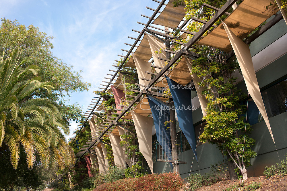 Casa Nueva campus office building, Santa Barbara, CA, USA. 330 foot trellis of shade fabric and wisteria climber to help cool the buildings south and west facades.<br /> <br /> Design: Van Atta Associates Inc.