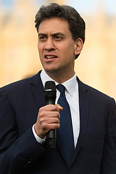 © Licensed to London News Pictures. 17/06/2016. Labour party politician ED MILLIBAND attends a two minutes silence with well wishers in Parliament Square in memory of Labour party MP JO COX. She was allegedly attacked and killed by suspect 52 year old Tommy Mair close to Birstall Library near Leeds. London, UK. Photo credit: Ray Tang/LNP