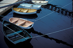 Assorted colorful dingy boats tied and moored along dock on lake.