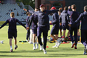 Lancashires Matthew Parkinson warms up during the Vitality T20 Blast North Group match between Lancashire Lightning and Birmingham Bears at the Emirates, Old Trafford, Manchester, United Kingdom on 10 August 2018.