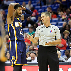 Oct 4, 2016; New Orleans, LA, USA;  Indiana Pacers forward Paul George (13) argues a call with the referee during the second half of a game against the New Orleans Pelicans at the Smoothie King Center. The Pacers defeated the Pelicans 113-96. Mandatory Credit: Derick E. Hingle-USA TODAY Sports