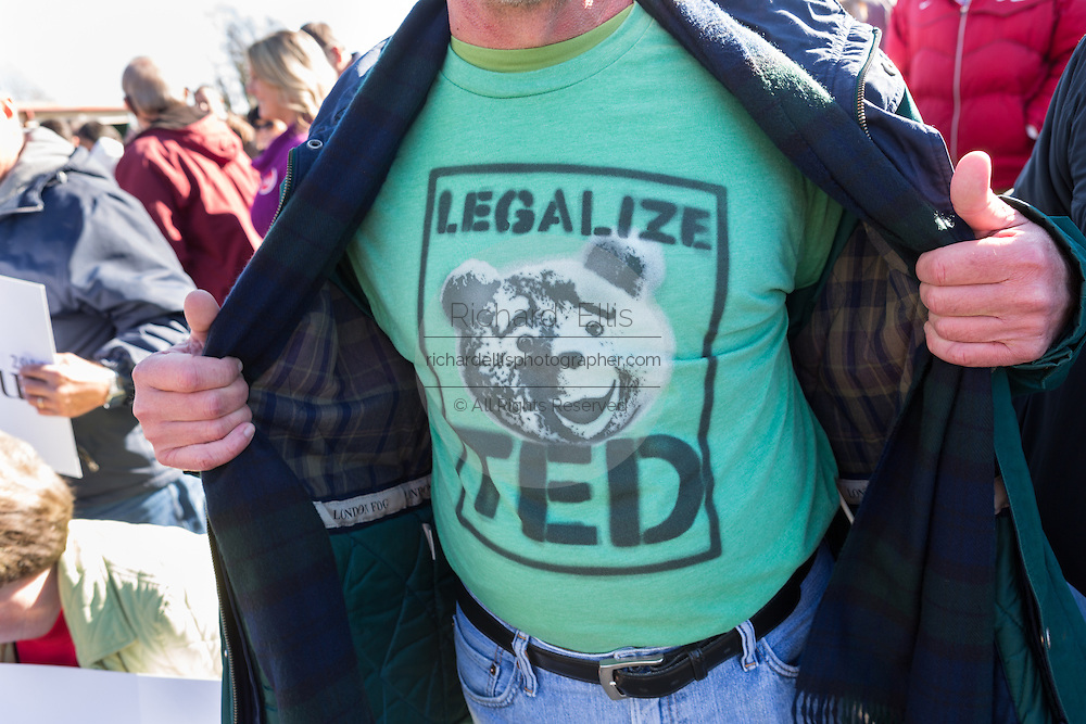 A supporter of Senator and GOP presidential candidate Ted Cruz shows off his shirt during a campaign event at Ottawa Farms December 19, 2015 in Bloomingdale, Georgia.