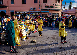 Men playing drums and performing a traditional dance in the Jemaa el Fna, Marrakech, Morroco, North Africa<br /> <br /> (c) Andrew Wilson | Edinburgh Elite media